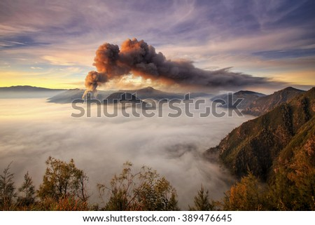 landscape Eruption  mount Bro mo  Locations East Java Indonesia - stock photo