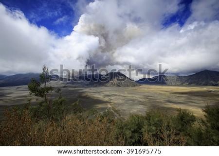 landscape eruption mountain  Bro mo locations East Java Indonesia - stock photo