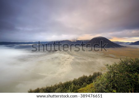 landscape Eruption Mountain Bromo  locations East Java Indonesia  - stock photo