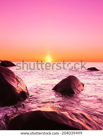 Landscape Evening Shore  - stock photo