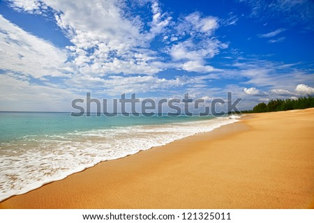 Landscape - exotic sand sea beach. Thailand, nobody. - stock photo
