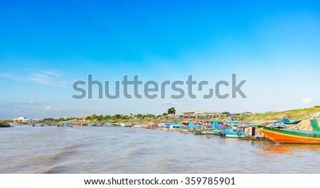 Landscape Fishing boats in Cambodia - stock photo