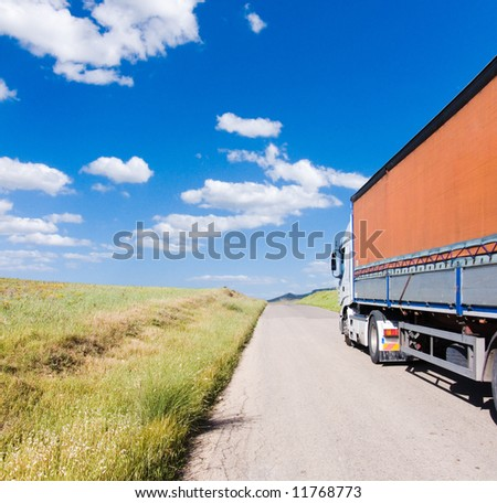 landscape for truck on the road - stock photo