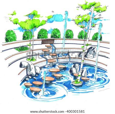 Landscape - fountain - stock photo