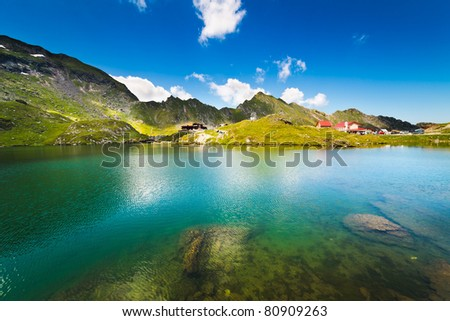 Landscape from Balea Lake in Romania and Fagaras mountains in the summer - stock photo