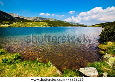 Landscape from glacial lake Calcescu in Parang mountains in Romania
