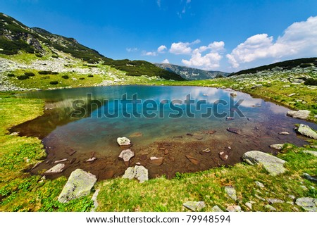 Landscape from glacial lake Vidal in Parang mountains in Romania