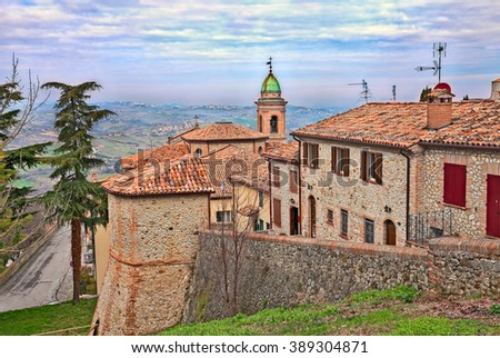landscape from Sogliano al Rubicone, Forli-Cesena, Italy, ancient little town on the hills of Emilia Romagna