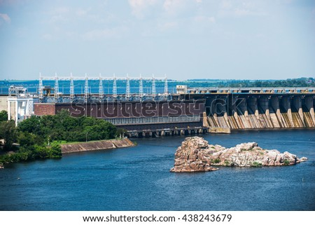 landscape from the island Khortytsya Zaporozhye on hydroelectric power station on the Dnieper River in Ukraine - stock photo