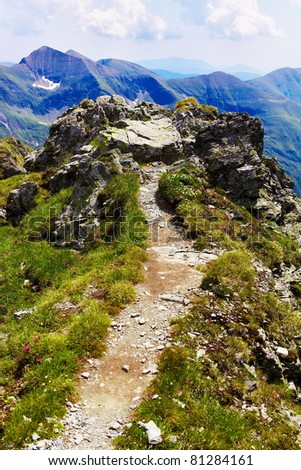 Landscape from the rocky Fagaras mountains in Romania in the summer - stock photo