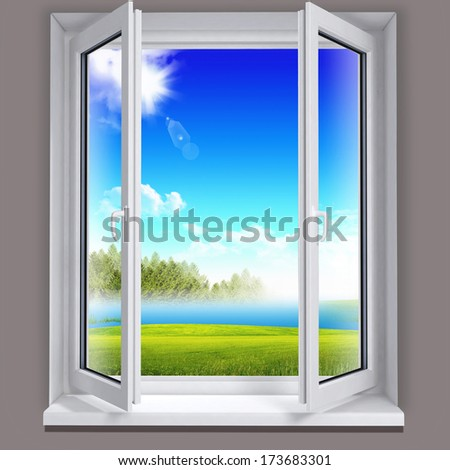 Landscape from the window - stock photo