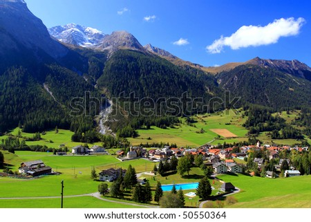 Landscape from Zermatt to St.Moritz by Glacier Express the Oberalp Pass at 2033 meter above sea level. - stock photo