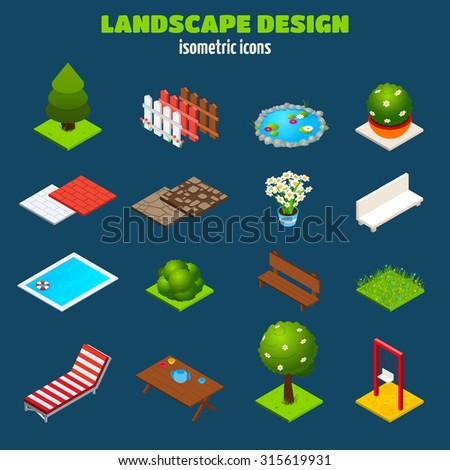Landscape gardening outdoors design isometric icons set isolated  illustration - stock photo