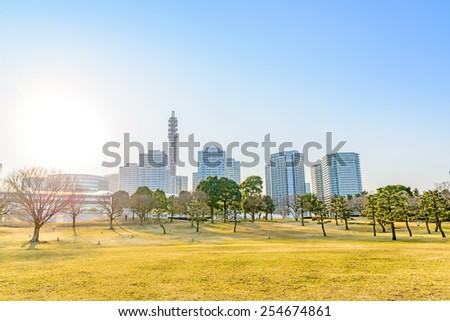 Landscape grass prospects the Yokohama City buildings of landmark at early-evening. - stock photo