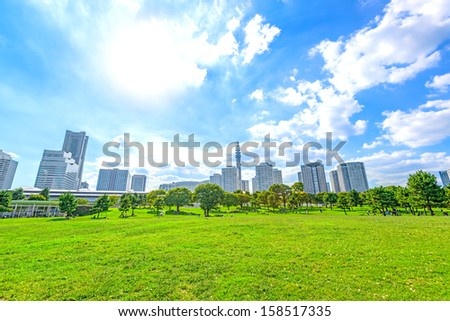 Landscape grass prospects the Yokohama city buildings of landmark sunny skyline in Yokohama, Japan. - stock photo