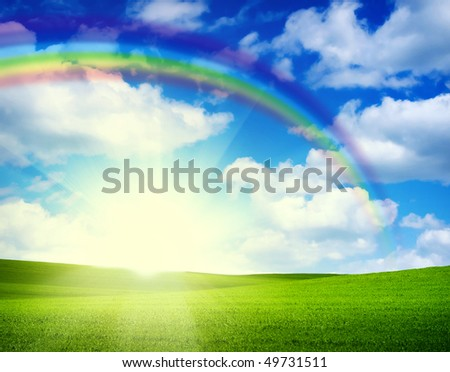 Landscape grass sky - stock photo