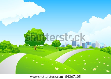 Landscape - green hills with tree cityscape and cloudscape - stock photo