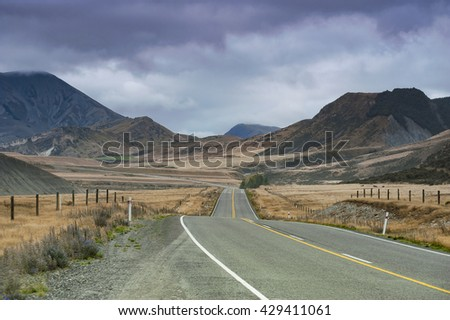 landscape highway road,selective focus - stock photo