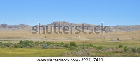 Landscape hilly ridge in the desert