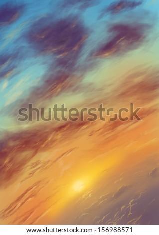 Landscape illustration - stock photo