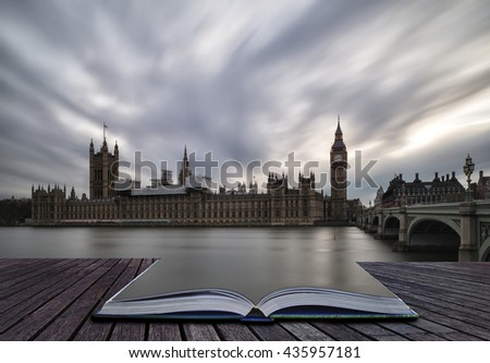 Landscape image of Big Ben and Houses of Parliament in Westminster London. - stock photo