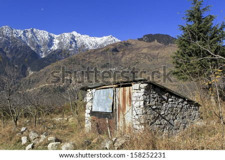 Landscape image taken in India, Manali. A hill station nestled in the mountains of the Indian state of Himachal Pradesh - stock photo