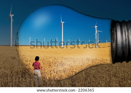 Landscape in a light bulb. Generating electricity. - stock photo