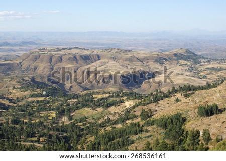 Landscape in Amhara province close to Lalibela, Ethiopia, Africa - stock photo