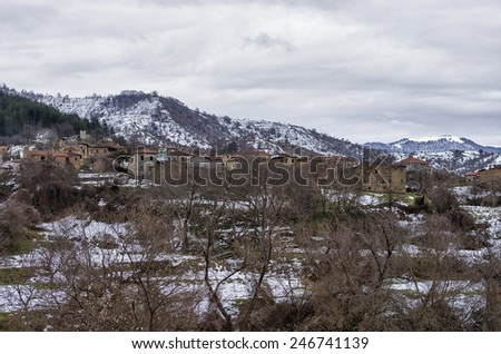 Landscape in Antartiko village, Florina, Greece - stock photo