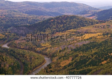 Landscape in Autumn time. Ural mountains. Russia