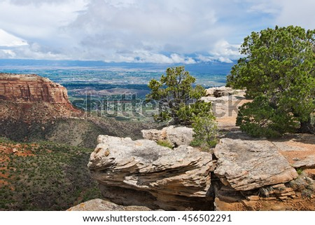 Landscape in Colorado National Monument  in USA - stock photo