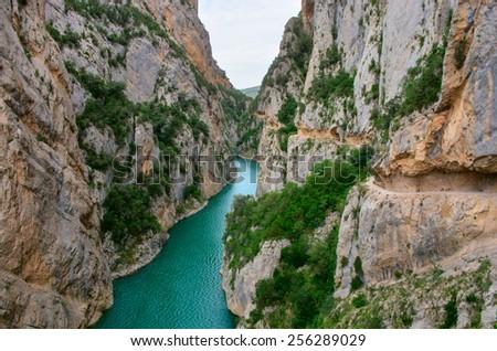 Landscape in Congost de Mont-rebei ,  Spain - stock photo