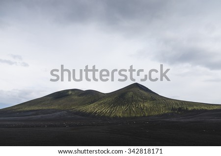 Landscape in Iceland,mountains and moss all over the place - stock photo