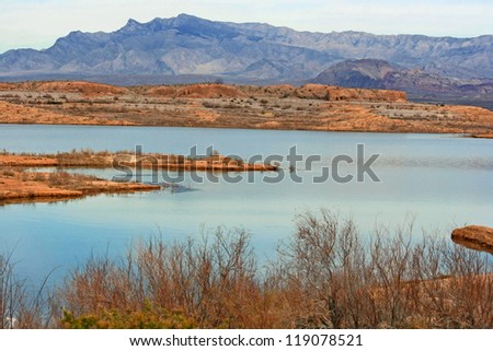 Landscape in Lake Mead Recreation Area, Nevada - stock photo