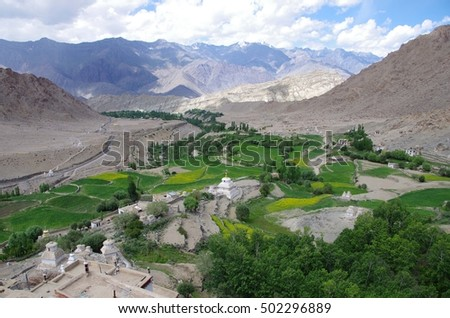 Landscape in Likir in Ladakh, India