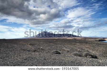 Landscape in los Ajaches, Canary islands, Lanzarote, Spain  - stock photo