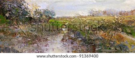 landscape in lower saxony - hand painted impasto sketch on canvas - stock photo
