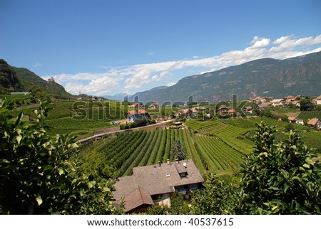landscape in northern italy - stock photo