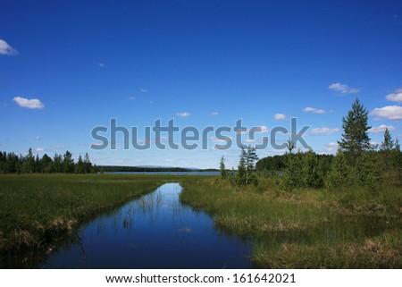 Landscape in northern Sweden  - stock photo