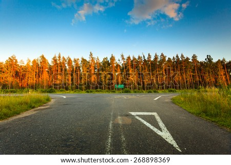 Landscape in Poland asphalt road signpost and forest, early autumn - stock photo