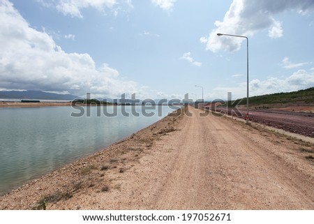 Landscape in power plant area with stock water - stock photo