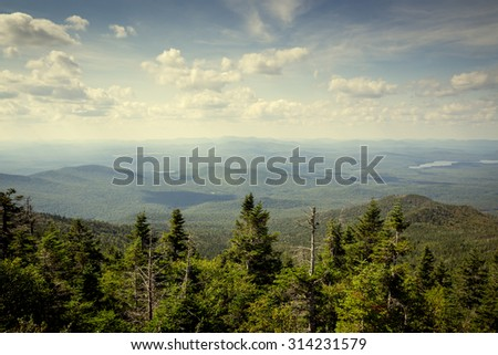 Landscape in the Adirondack mountains, upstate New York, USA. Vacation, adventure, nature, outdoors, river, vacation and nature concept.