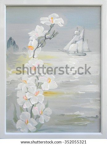 Landscape in the Bay of Douarnenez. Oil painting on canvas. - stock photo