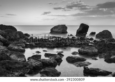 Landscape in the Cala del Cuervo. Natural Park of Cabo de Gata. Spain. - stock photo