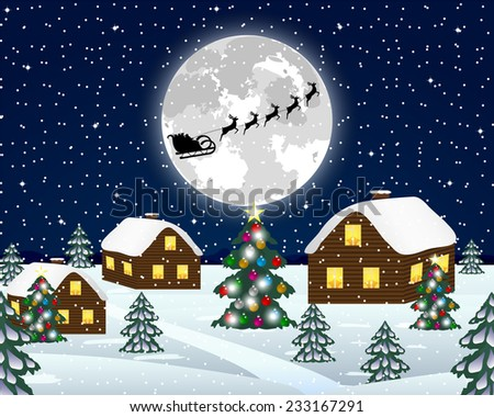 Landscape in the Christmas night  - stock photo