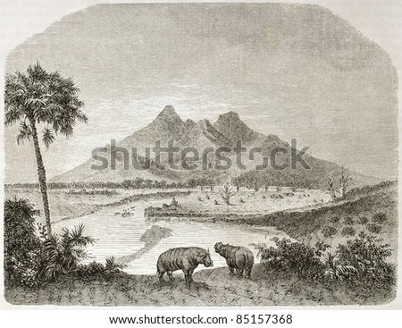 Landscape in the former Fazogli region, southern Egipt. Created by Lancelot after Russegger, published on Le Tour du Monde, Paris, 1860. - stock photo