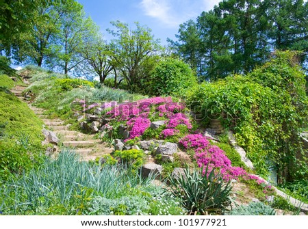 Landscape in the Kiev botanical garden - stock photo