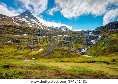 Landscape in the Mjoifjordur fjord in Iceland - stock photo