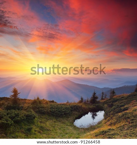 Landscape in the mountains with the sunset. Ukraine, the Carpathian mountains - stock photo