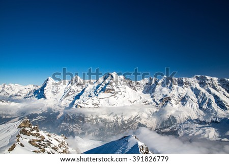 Landscape in the Swiss Alps near Schilthorn summit.